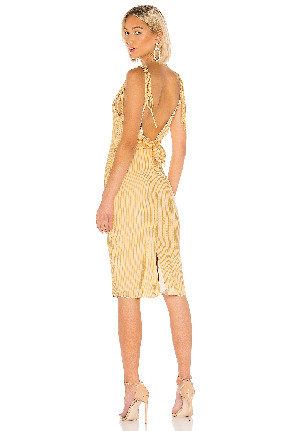 LPA Tie Back Tank Dress in Ivory and Yellow