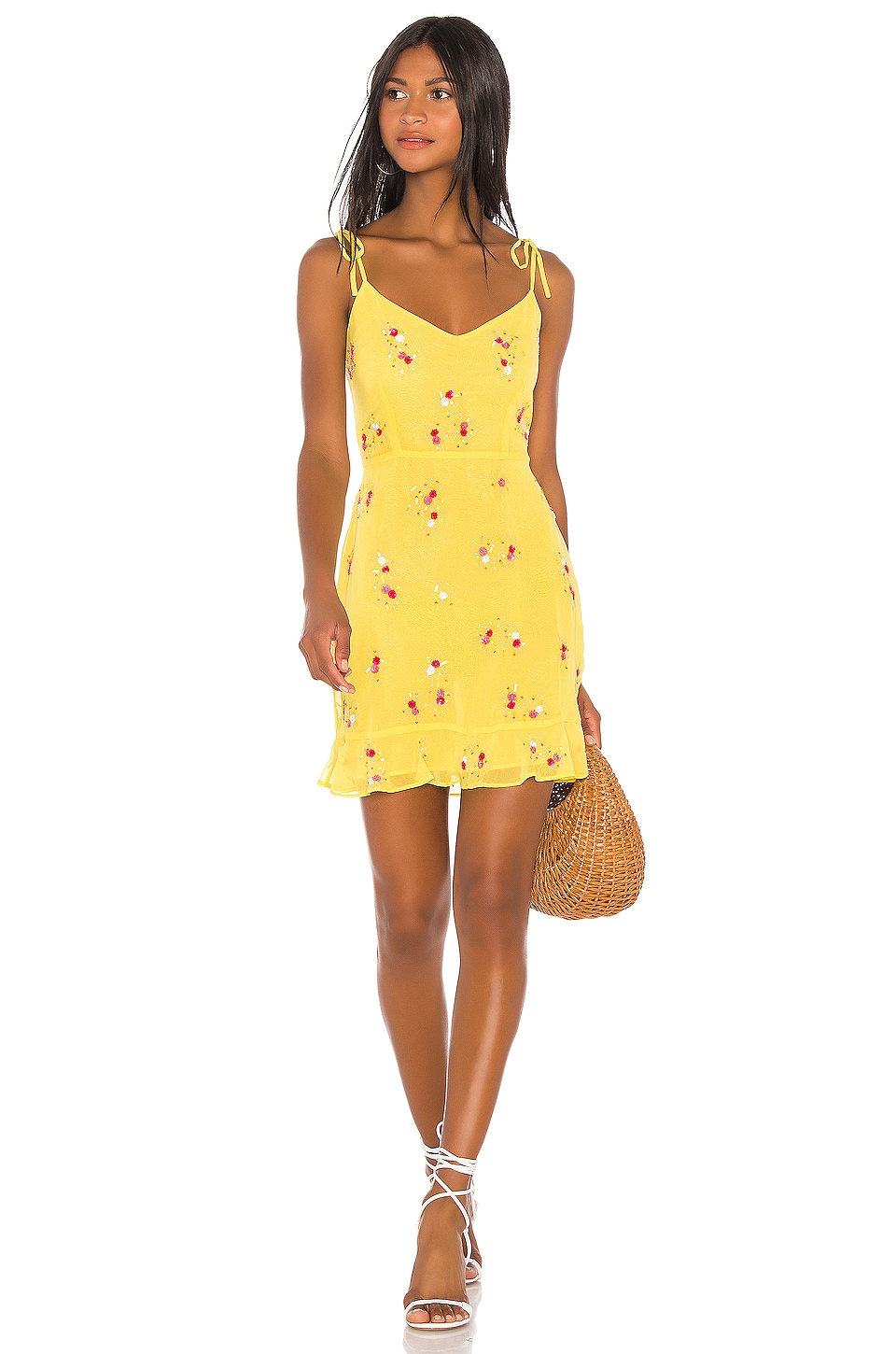 LPA Multi Ruffle Mini Dress in Sequin On Yellow