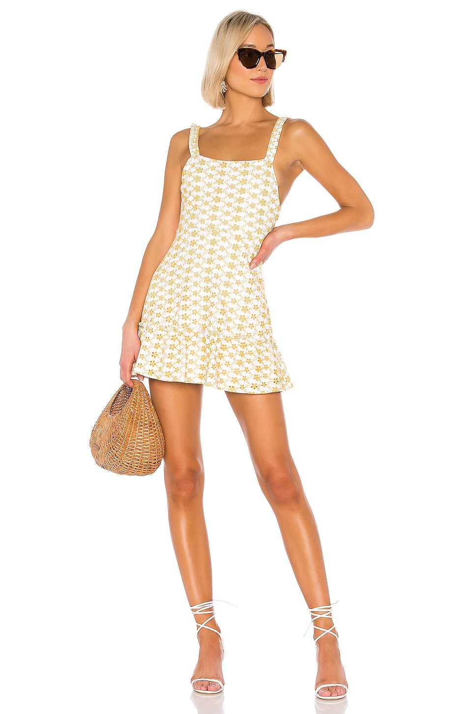 LPA Mabel Dress in White and Yellow