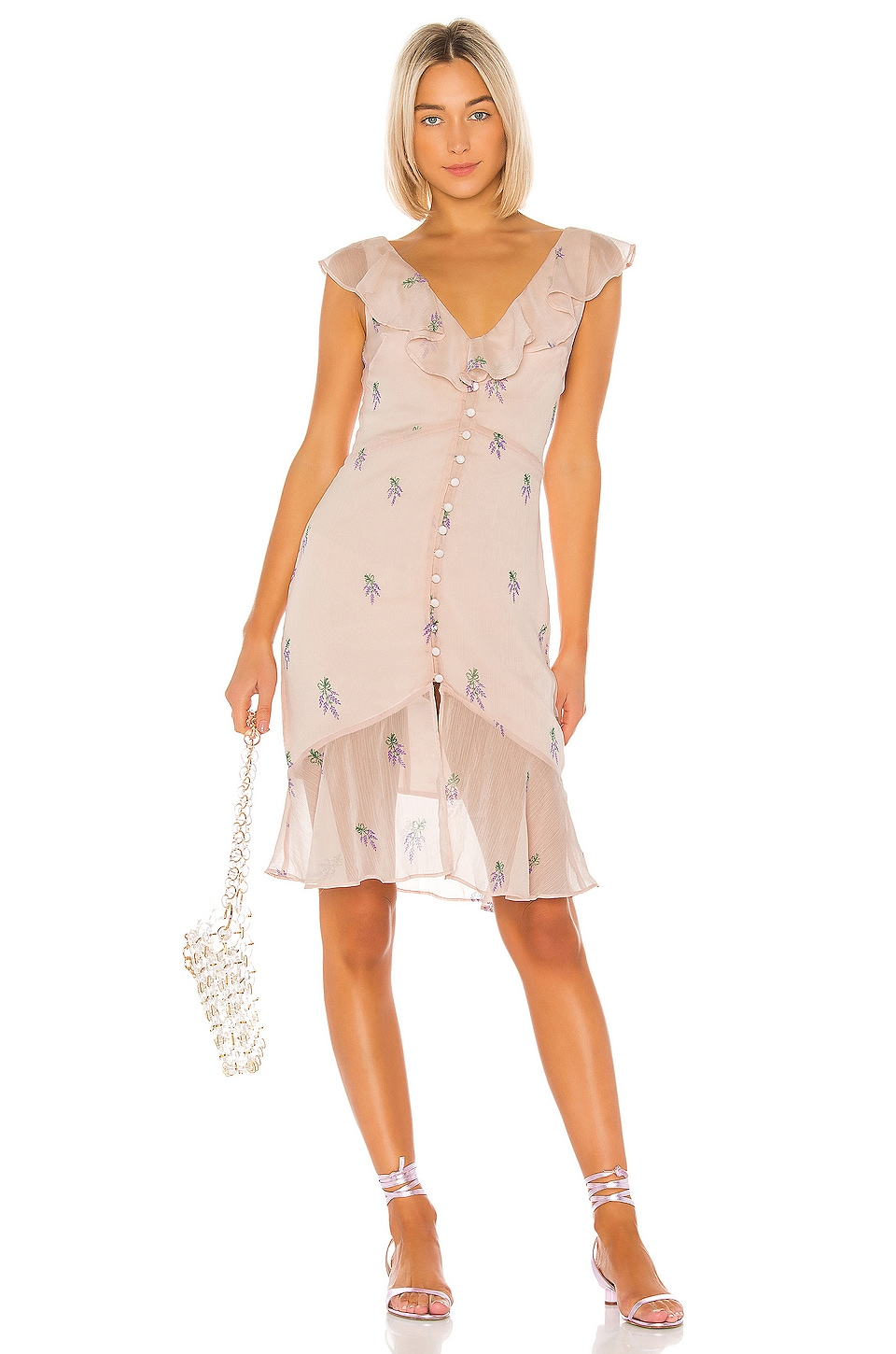 LPA Ciro Embroidered Dress in Lavender On Blush