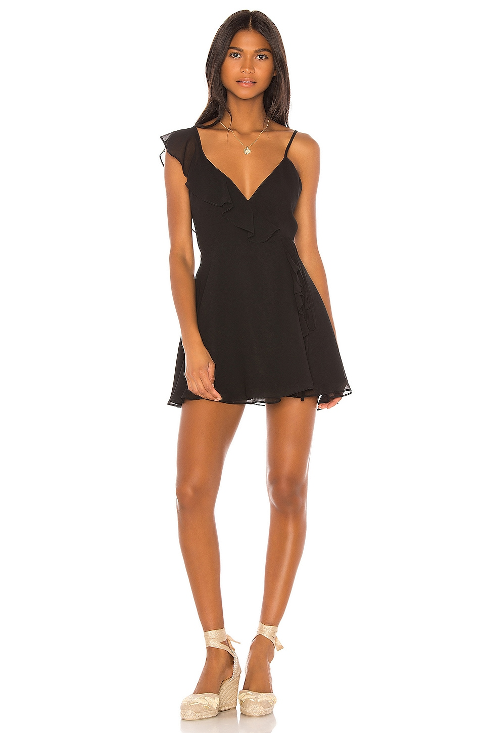 LPA Asymmetrical Ruffle Wrap Dress in Black