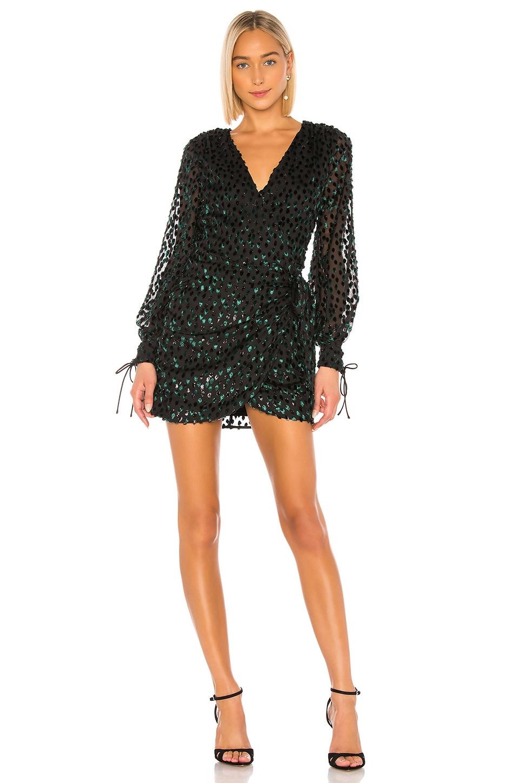 LPA Brett Mini Dress in Emerald & Black