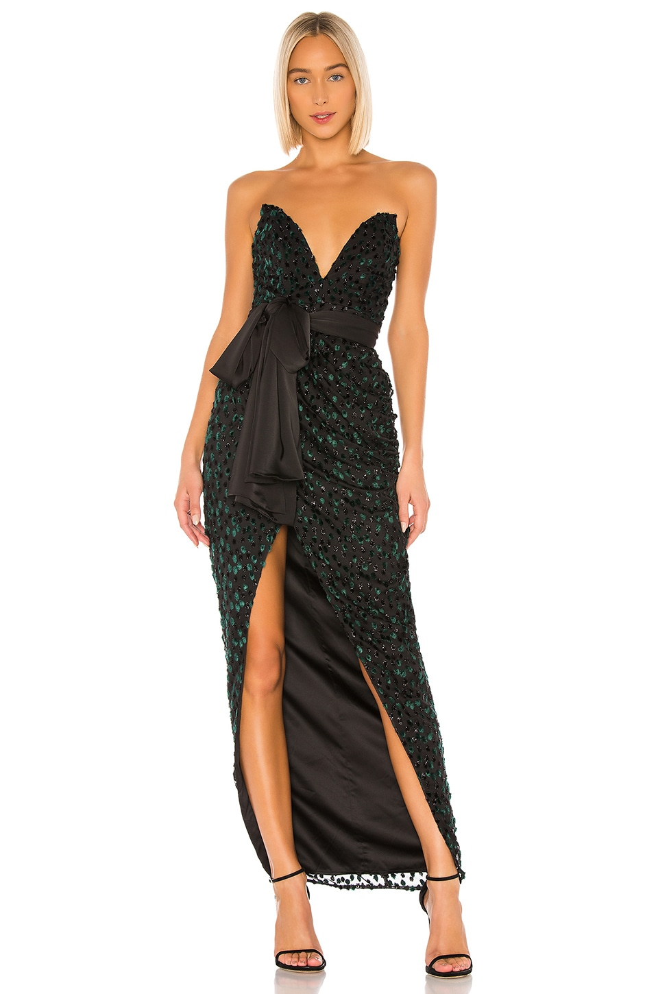 LPA Julieanne Gown in Emerald & Black