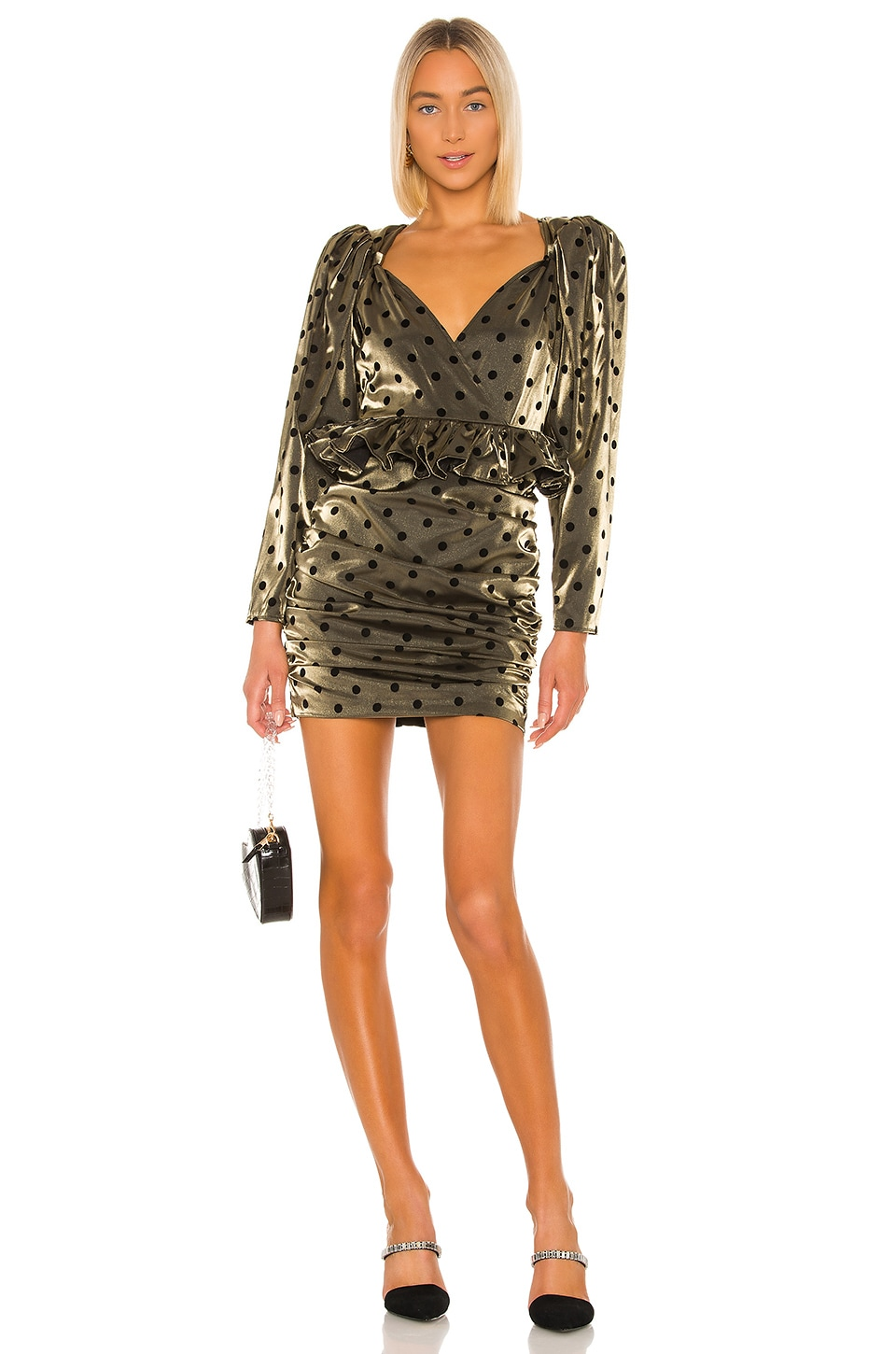 LPA Ailisa Dress in Gold & Black