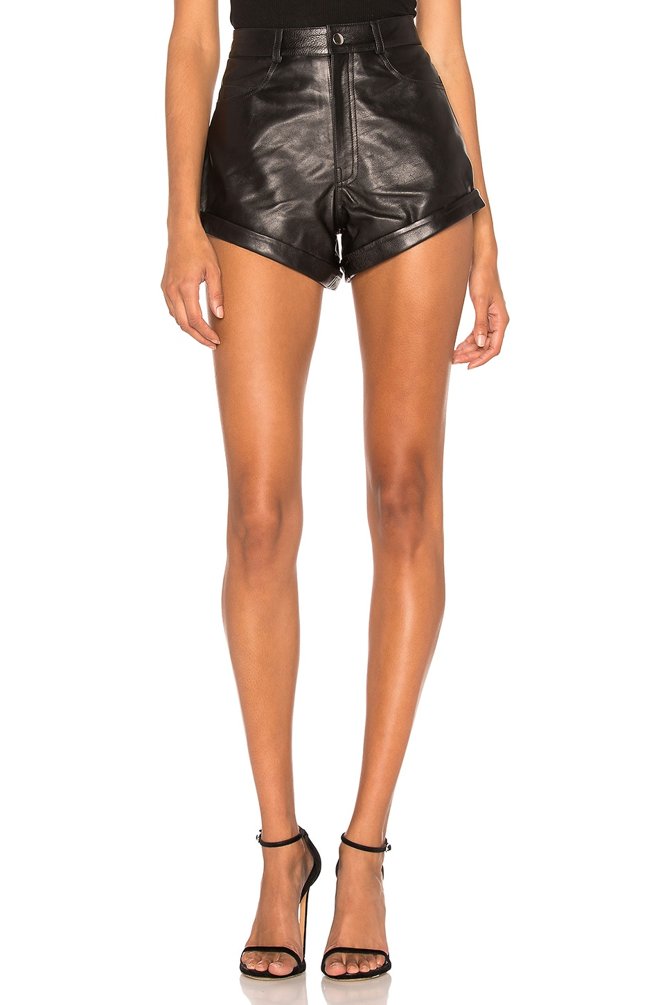 LPA Leather Relaxed Cuff Short in Black