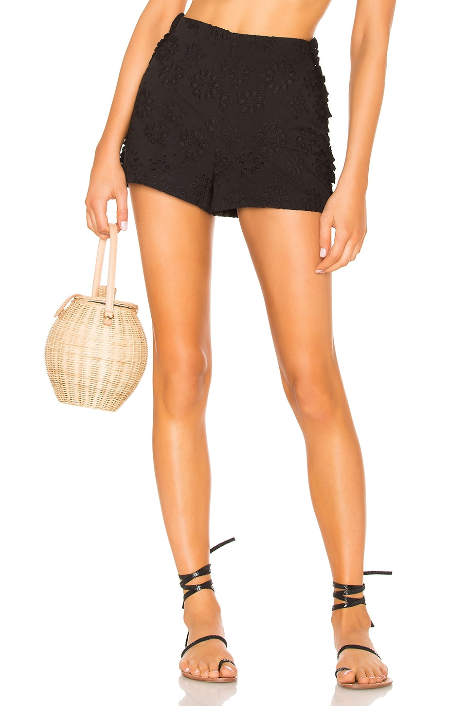 LPA High Waist Short With Side Ruffles en Black