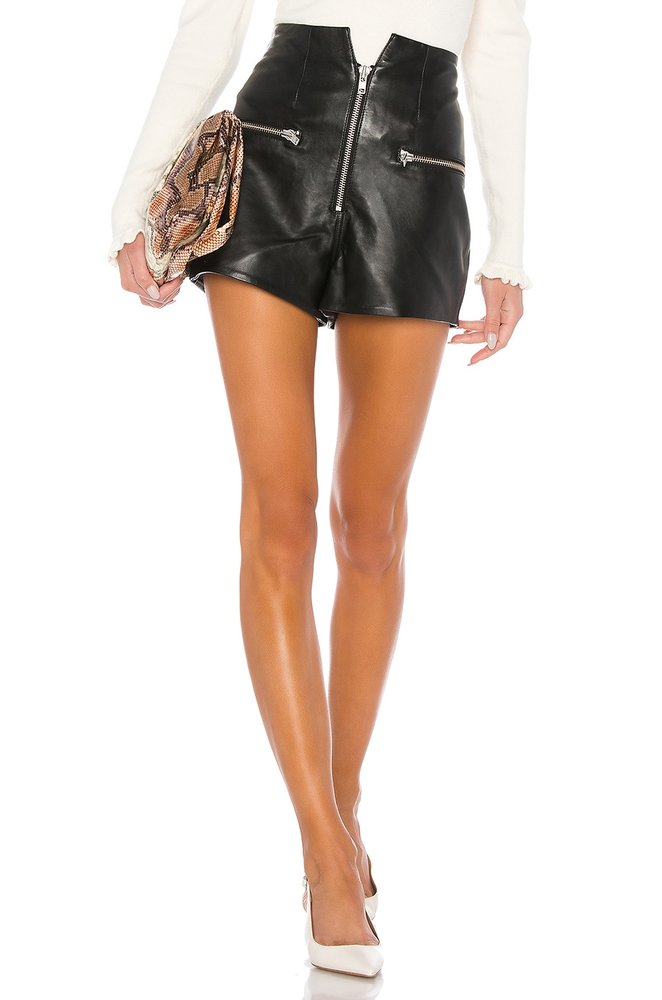 LPA Lorenzo Leather Shorts in Black