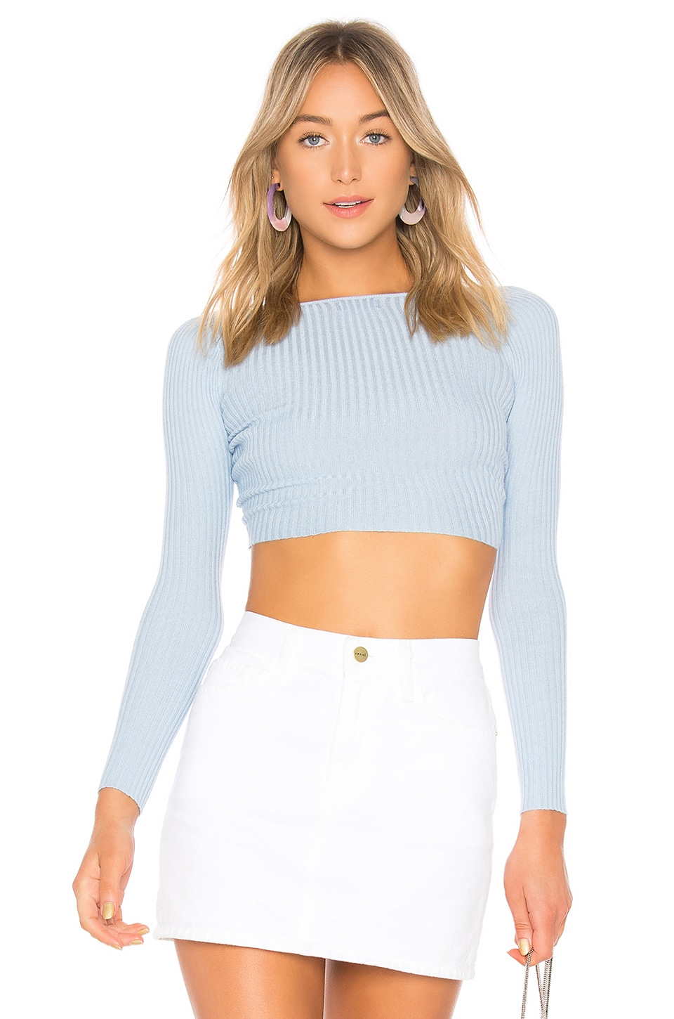 LPA Twist Crop Sweater in Pastel Blue
