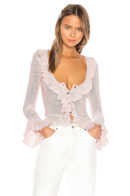LPA Ruffle Sweater Cardigan in Light Pink