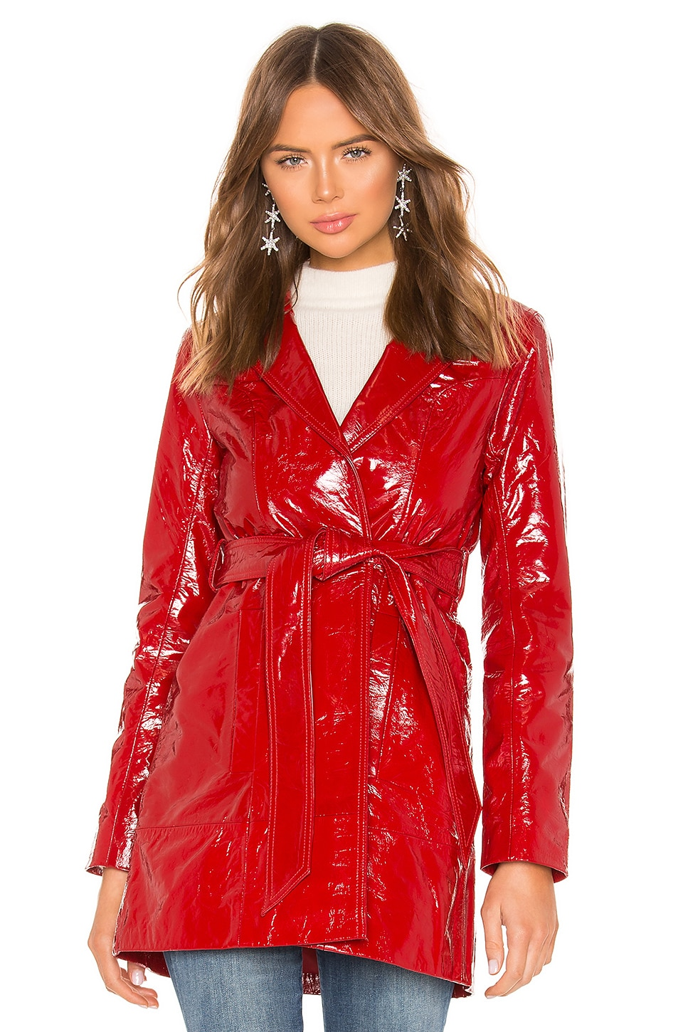 LPA Cropped Patent Trench in Red