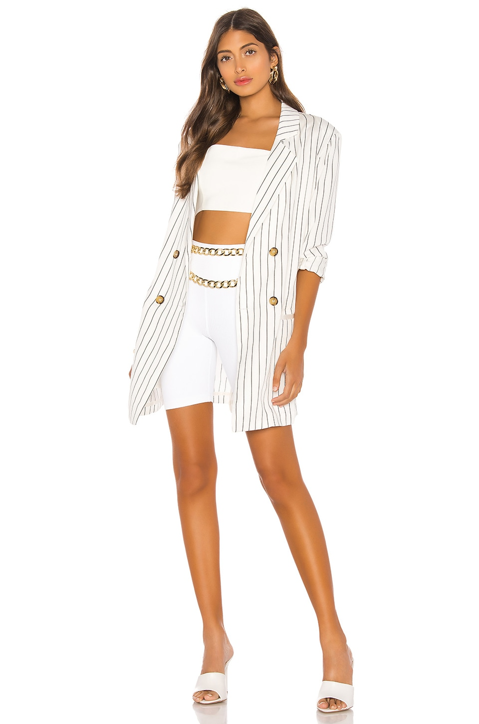 LPA Wrap Jacket in White w Black Stripe