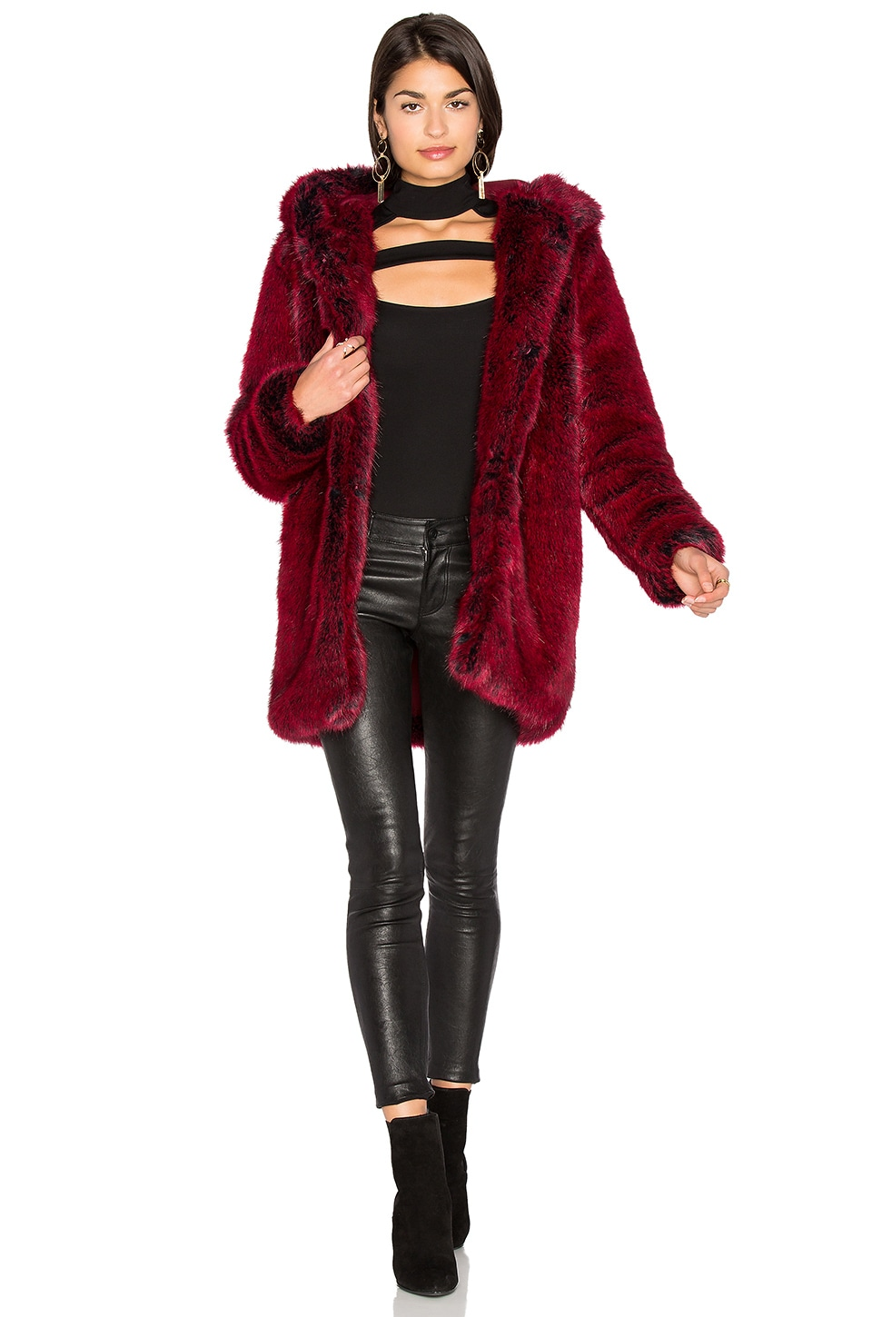 LPA Faux Fur Coat 84 in Blood Red