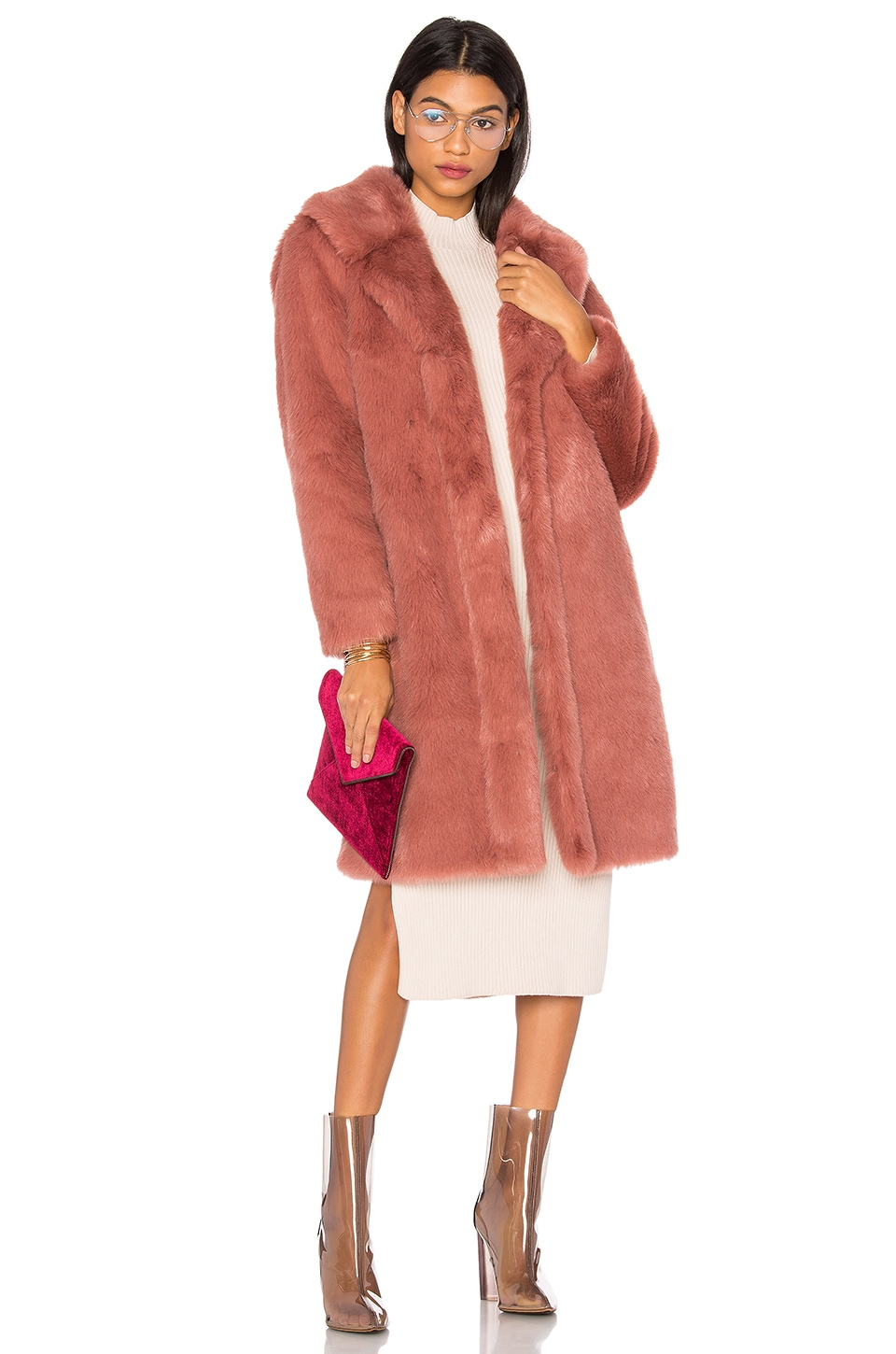 LPA Faux Fur Coat 111 in Deep Mauve