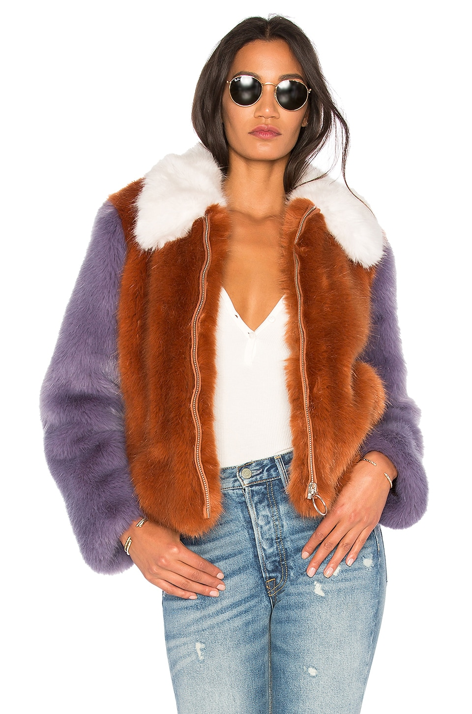 LPA Faux Fur Jacket 413 in Rust & Lilac