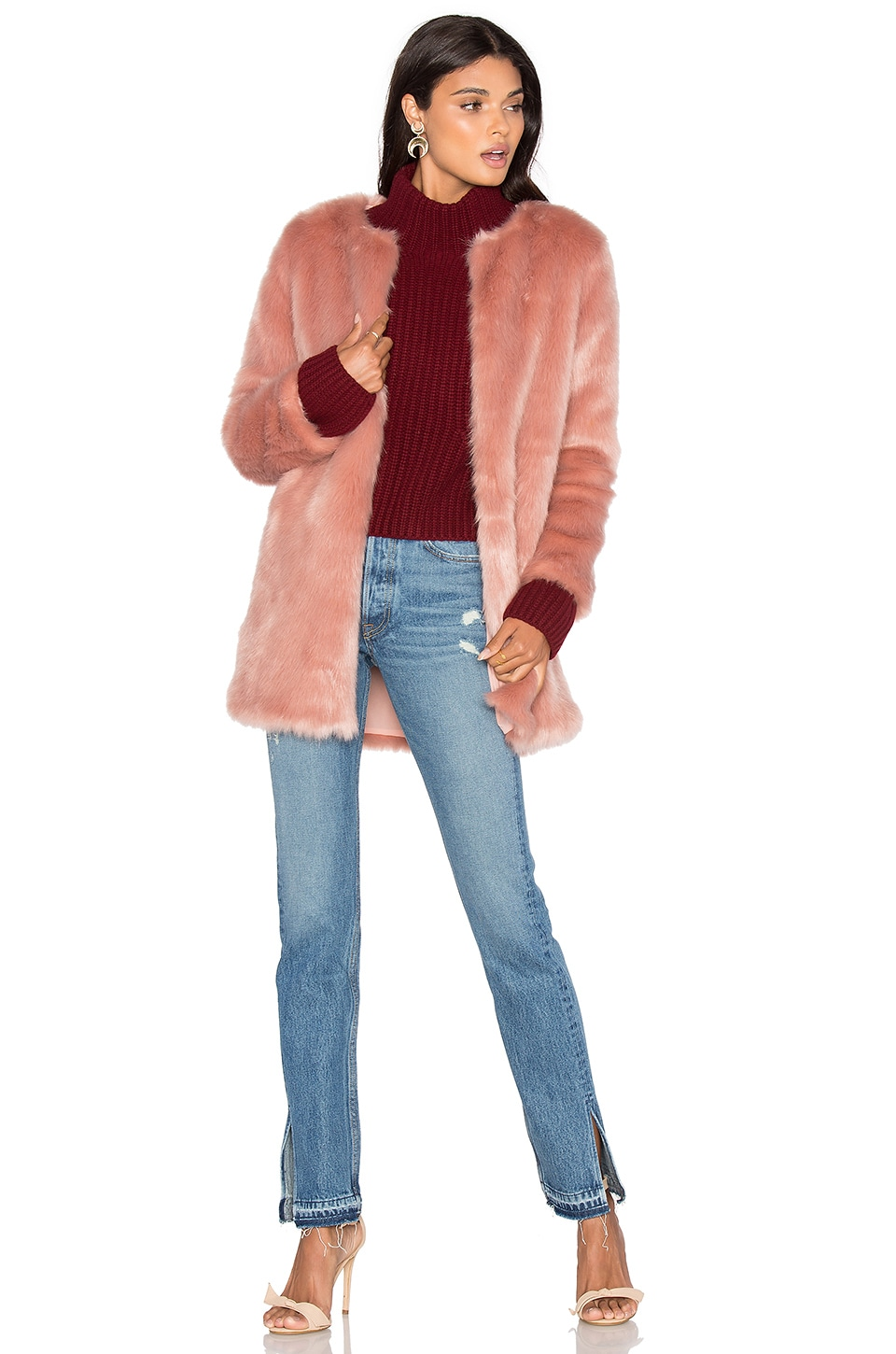 LPA Faux Fur Coat 52 in Mauve