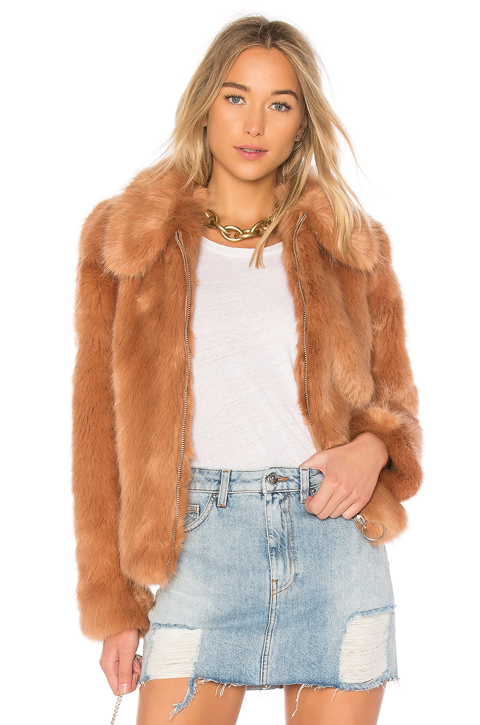 LPA Faux Fur Jacket 413 in Peach