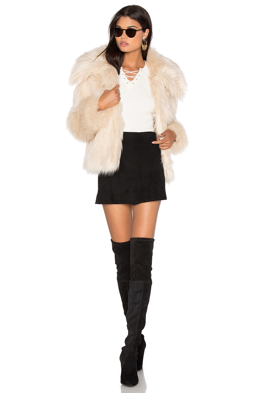LPA Faux Fur Coat 30 in Ivory