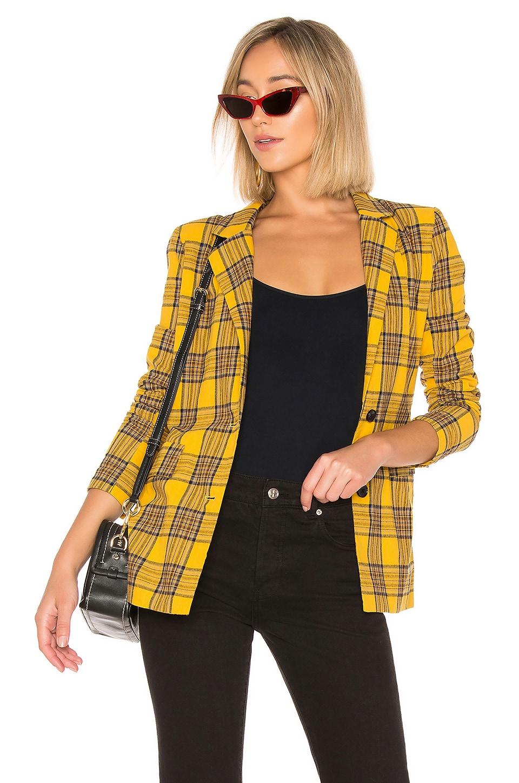 LPA Boxy Blazer in Mustard Plaid
