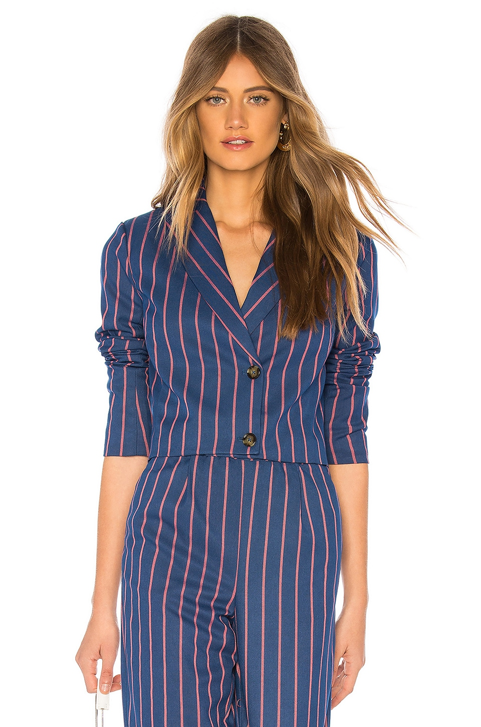 LPA Cropped Double Breasted Jacket in Navy Coral Stripe
