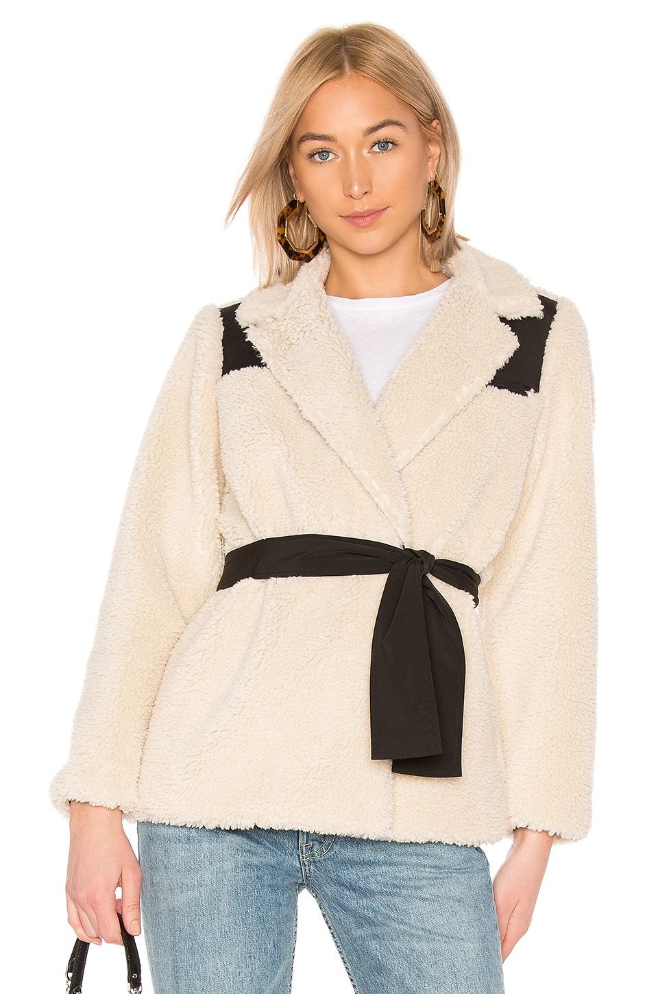 LPA Wrap Sherpa Jacket in Natural Combo
