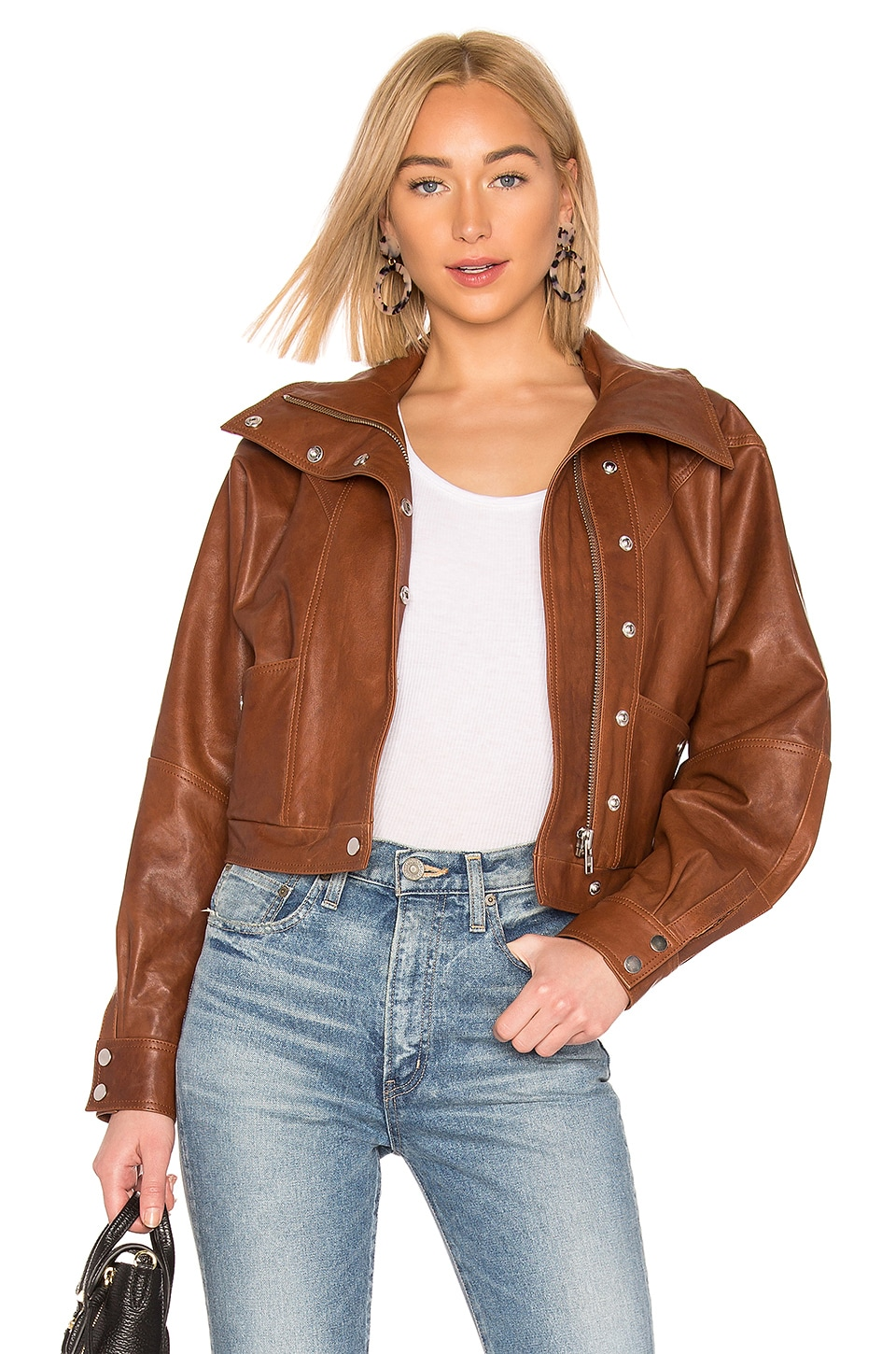 LPA Oversized Leather Jacket in Brown
