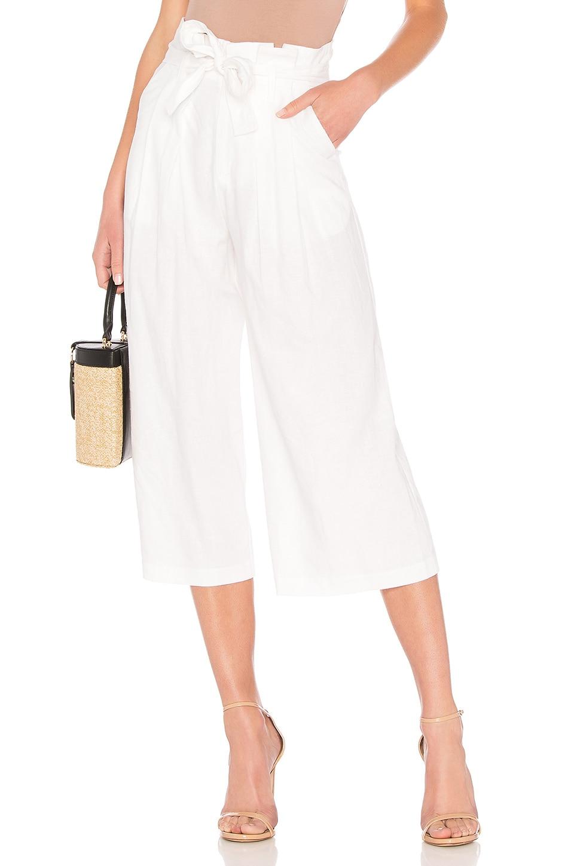 LPA Wide Leg Paperbag Pant in White