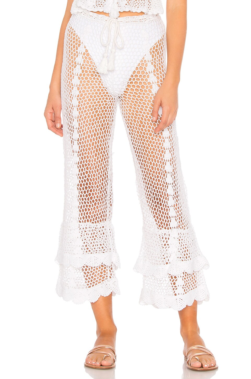 LPA Crochet High Waist Culotte in White