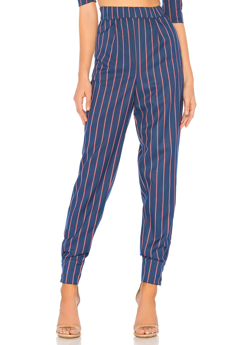 LPA Cuff Snap Pant in Navy Coral Stripe