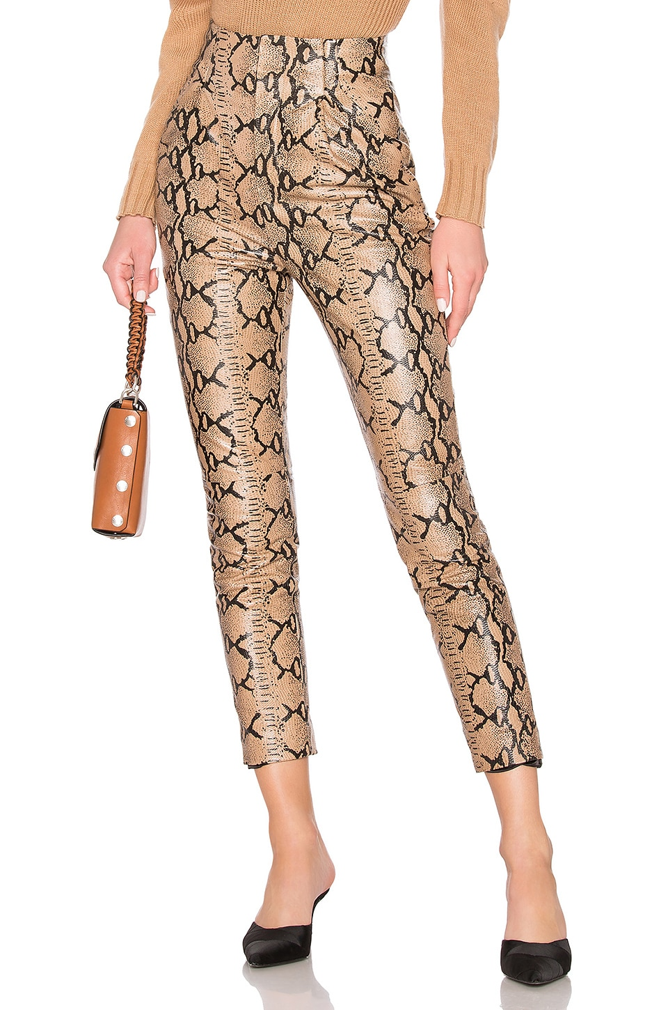 LPA Leather High Waist Pant in Snake