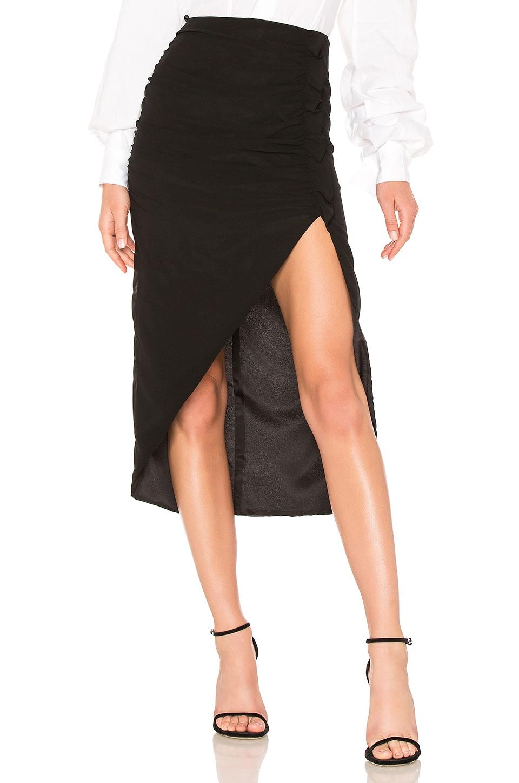 LPA Shirred Skirt W/ High Slit in Black
