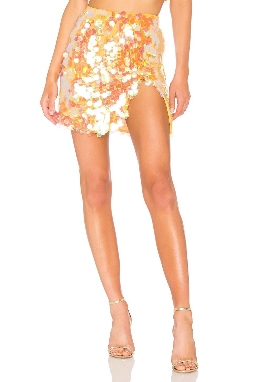 LPA Payette Sequin Draped Mini Skirt in Gold Champagne