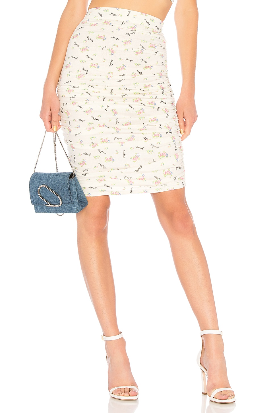 LPA Shirred Skirt in Send Nudes Floral