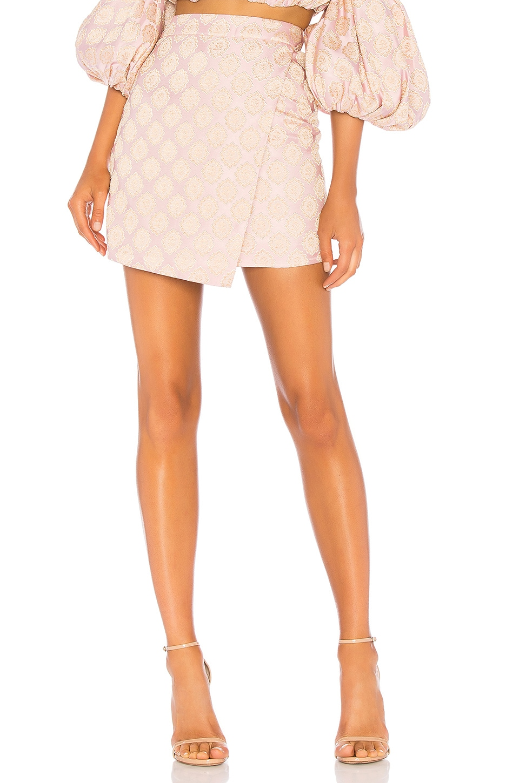 LPA Asymmetrical Mini Skirt in Peach On Pink