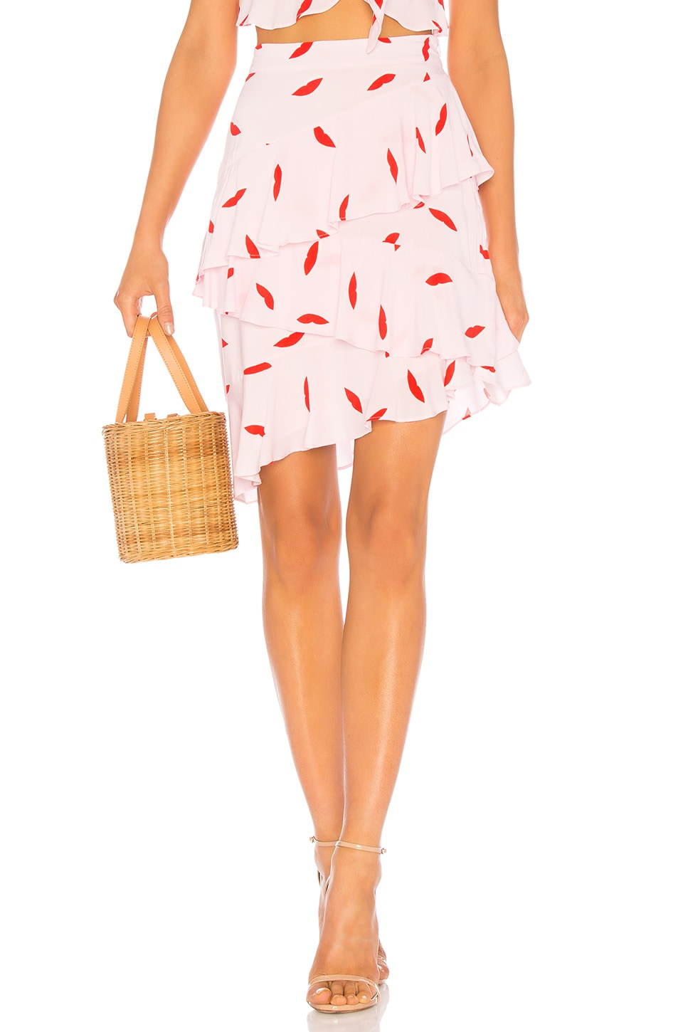 LPA Asymmetric Ruffle Skirt in Lips