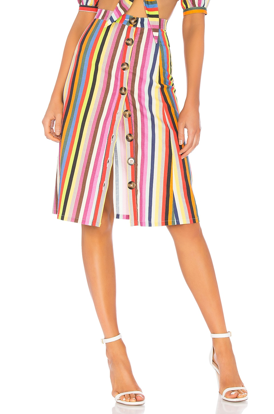 LPA Button Up Midi Skirt in Rainbow Stripe