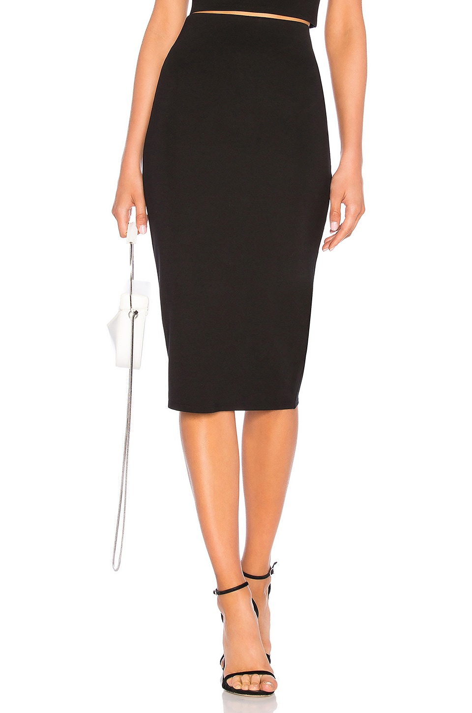 LPA Fitted Midi Skirt in Black