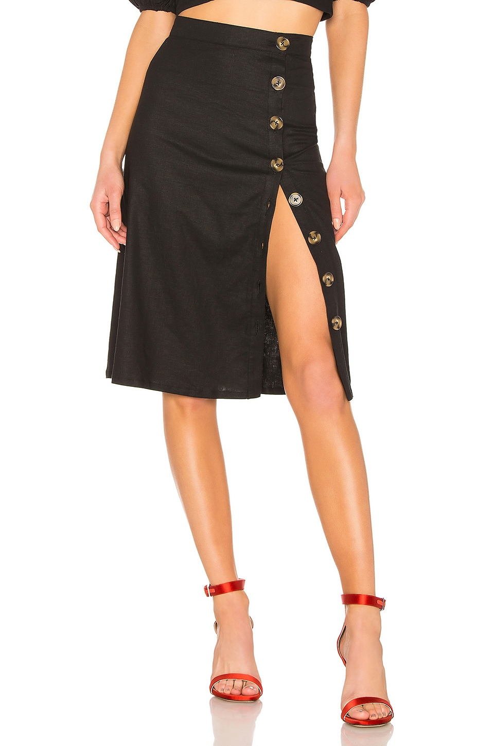 LPA Button Up Midi Skirt in Black