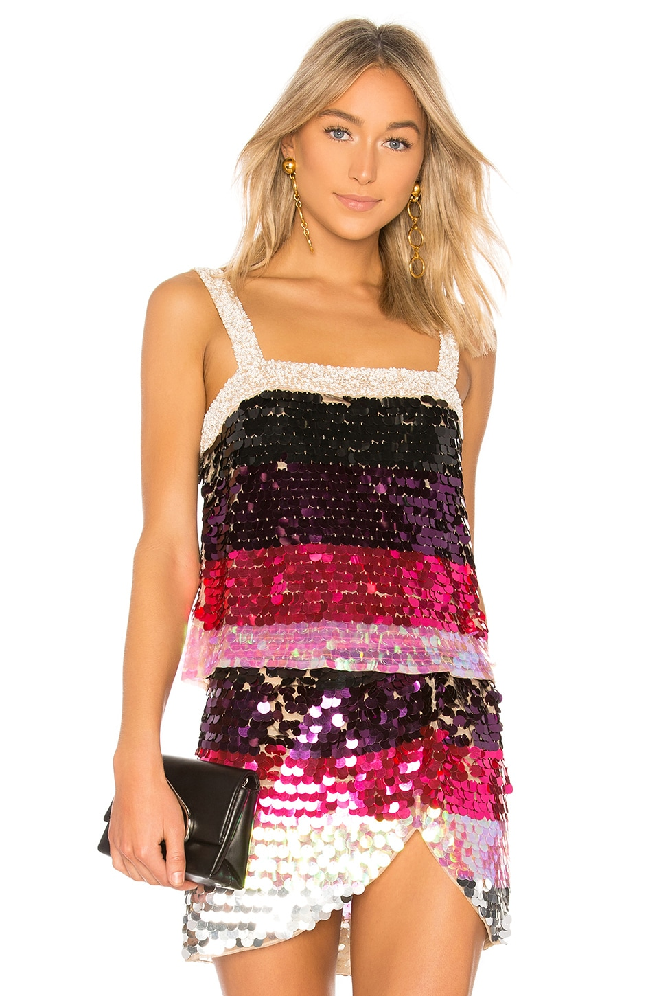 LPA Payette Sequin Tank in Magenta Melody