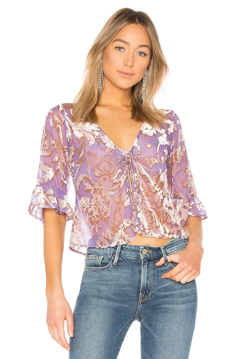 LPA Tie Front Top in Lilac Velvet