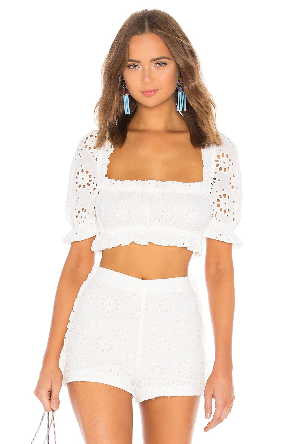 LPA Cropped Peasant Top With Puff Sleeves in White