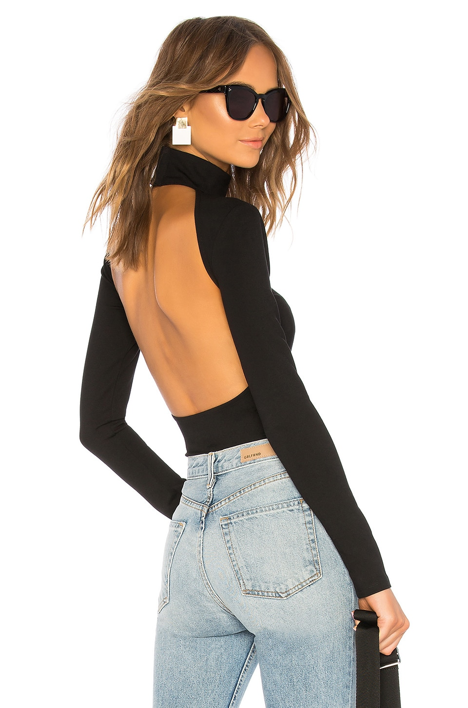 LPA Back Cut Out Bodysuit in Black
