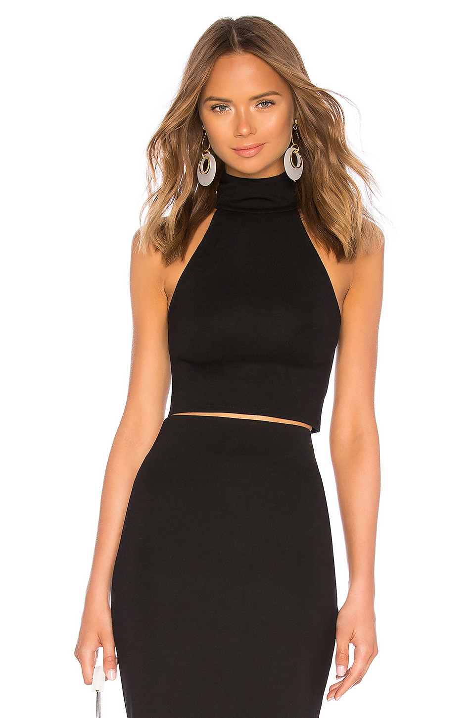LPA Turtleneck Crop Top in Black