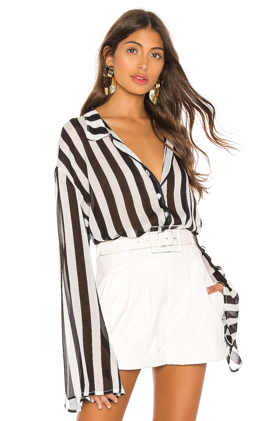 LPA Baby Doll Shirt in Black & White Stripe