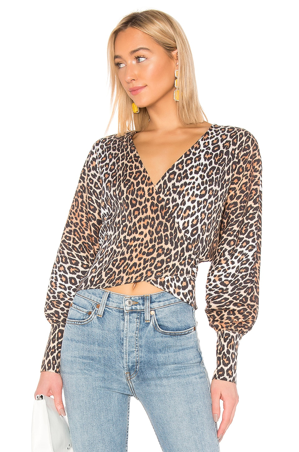 LPA Dolman Wrap Top in Leopard