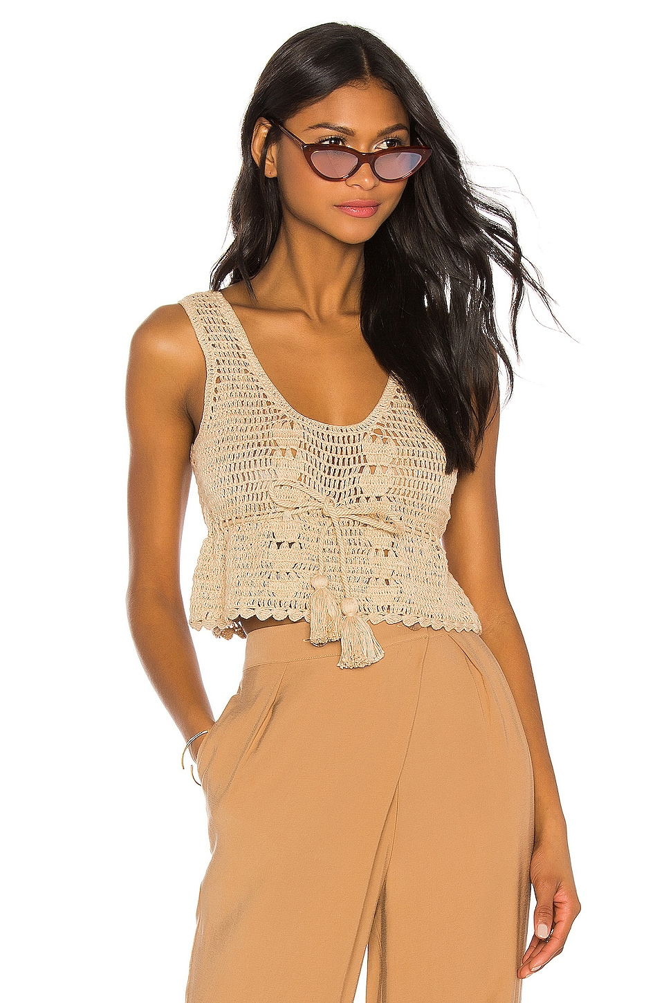 LPA Crochet Drawstring Crop Top in Beige