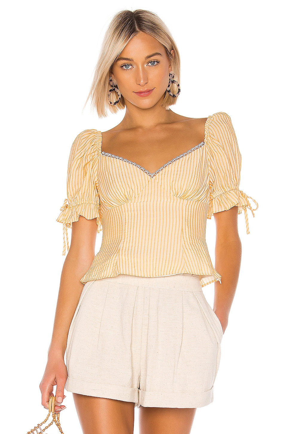 LPA Apollonia Top in Ivory and Yellow