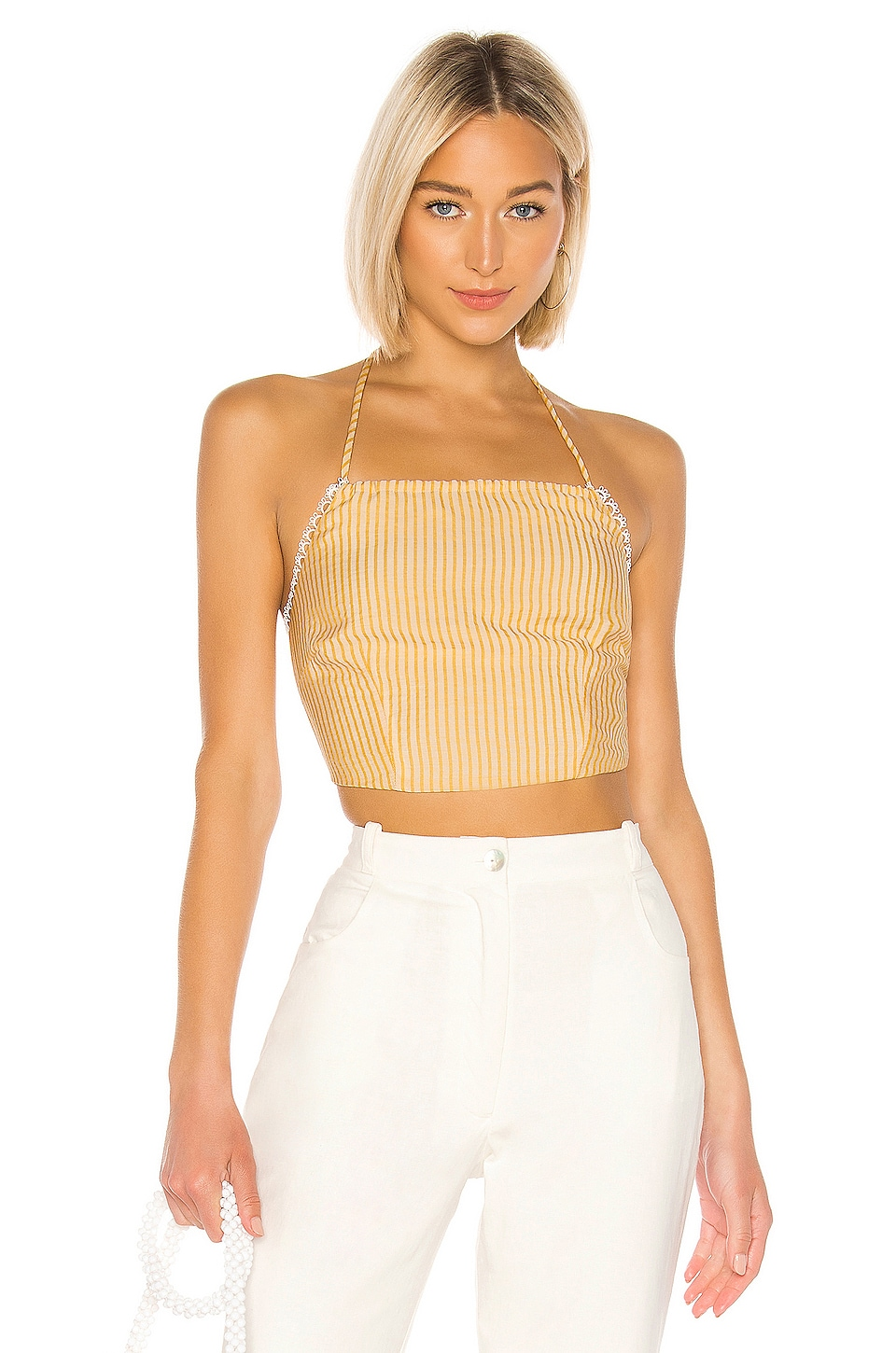 LPA Acerra Top in Ivory and Yellow