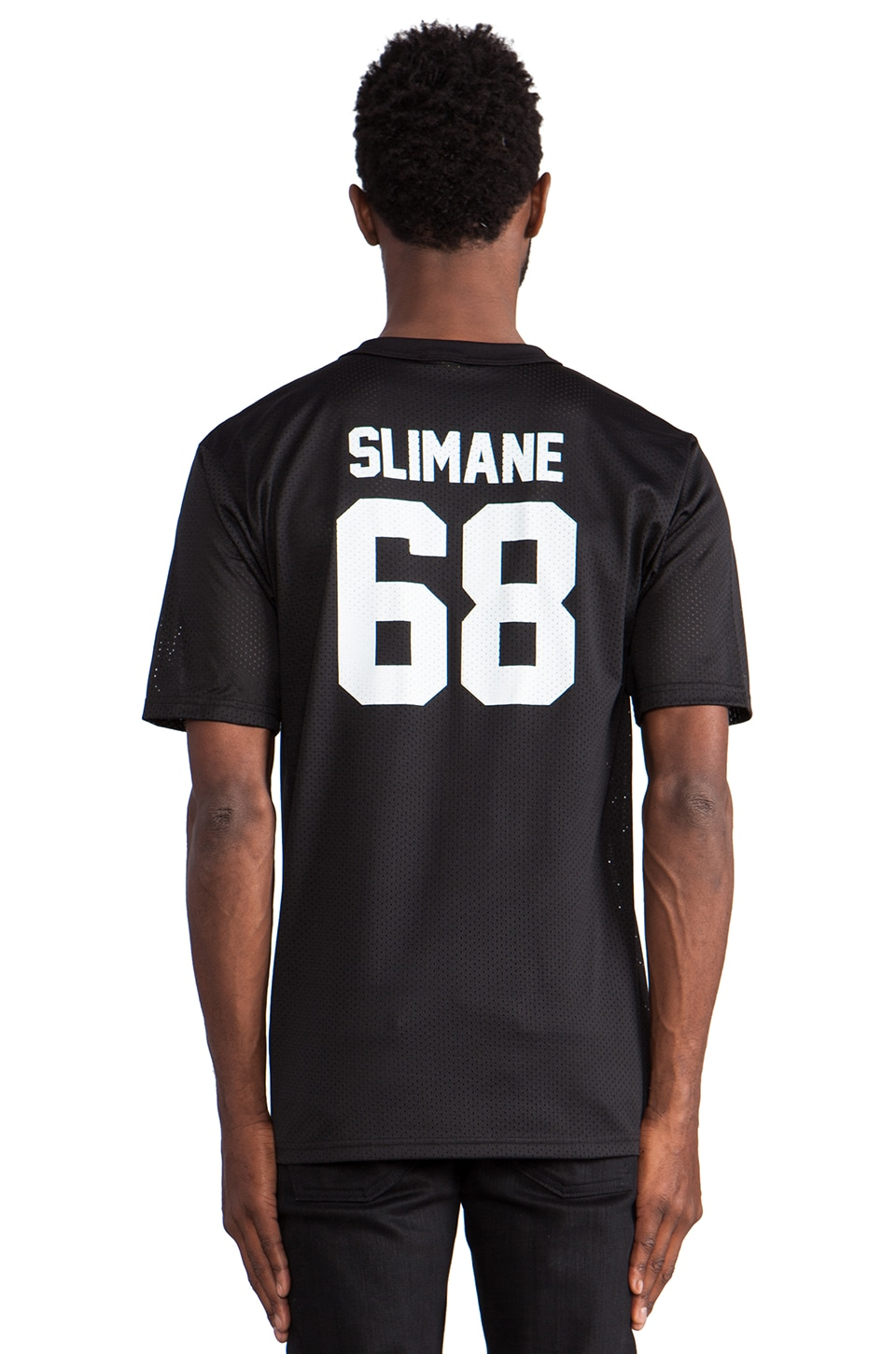 LPD New York Slimane Mesh Jersey with White Print in Black