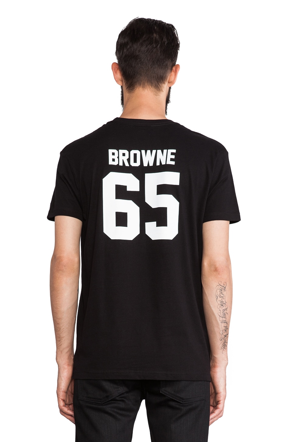 LPD New York Browne Tee in Black with White Print
