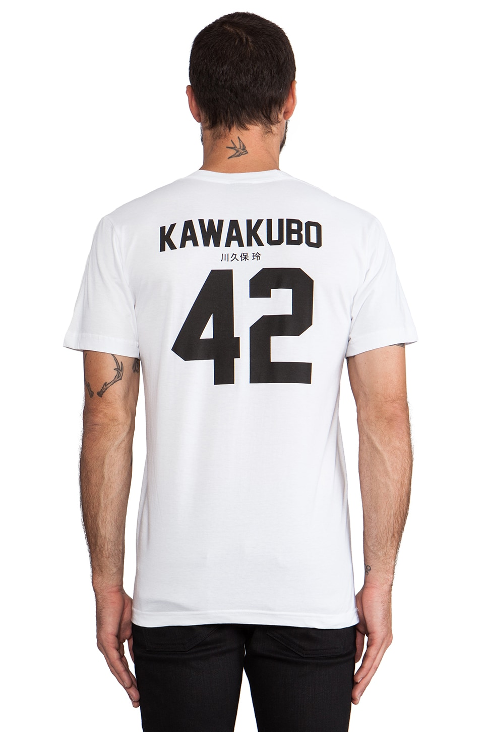 LPD New York Kawakubo Tee with Black Print in White